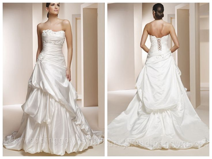 BEADED STRAPLESS SATIN WEDDING DRESS WITH PICK-UP SKIRT