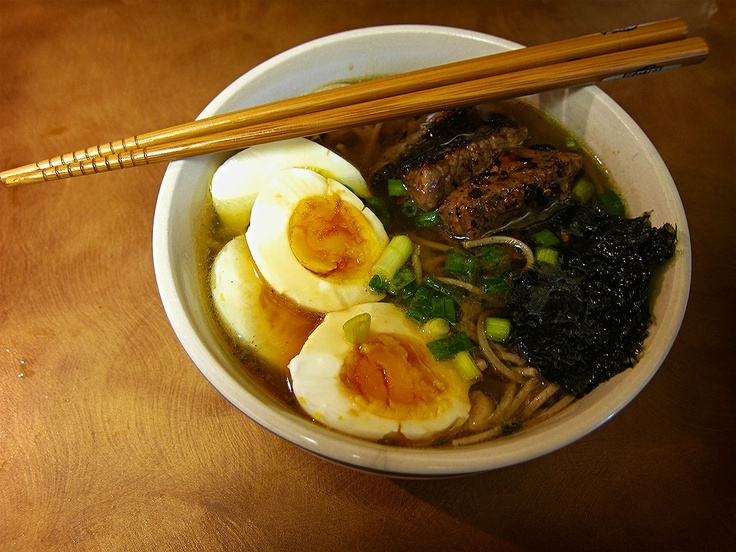Miso Soba With Boiled Eggs, Ginger-sauteed Beef, Chives, and Nori