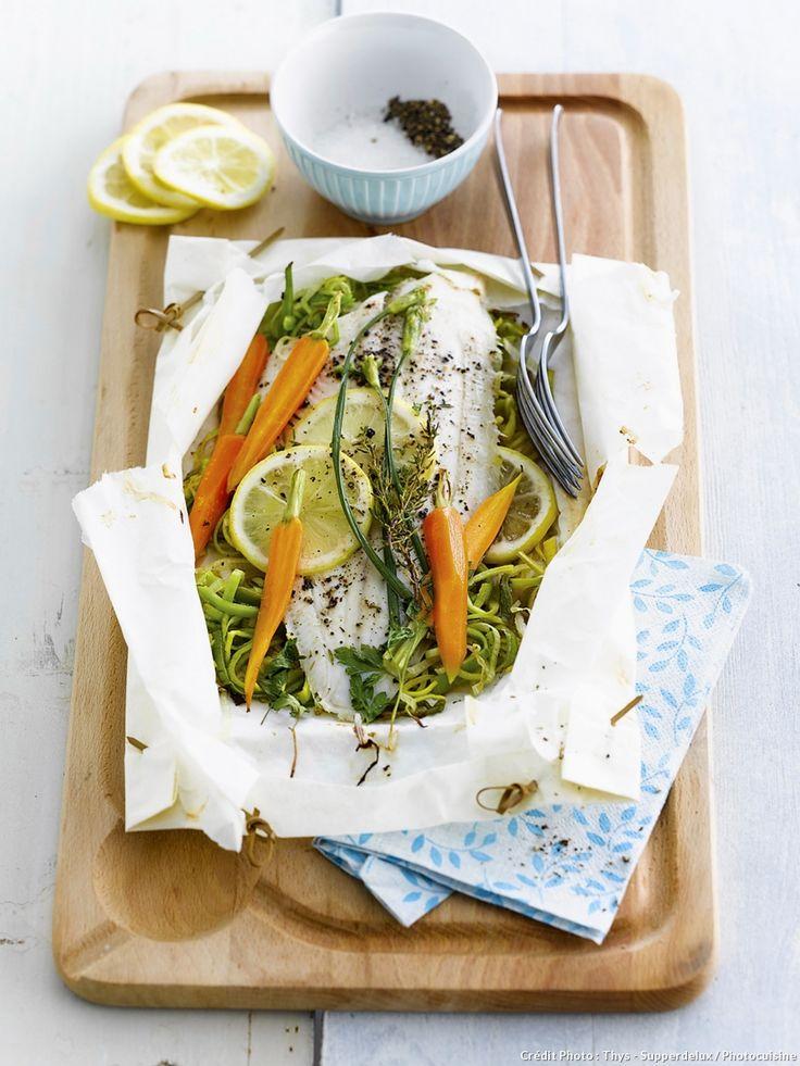 Recette de papillotes de sole aux légumes.