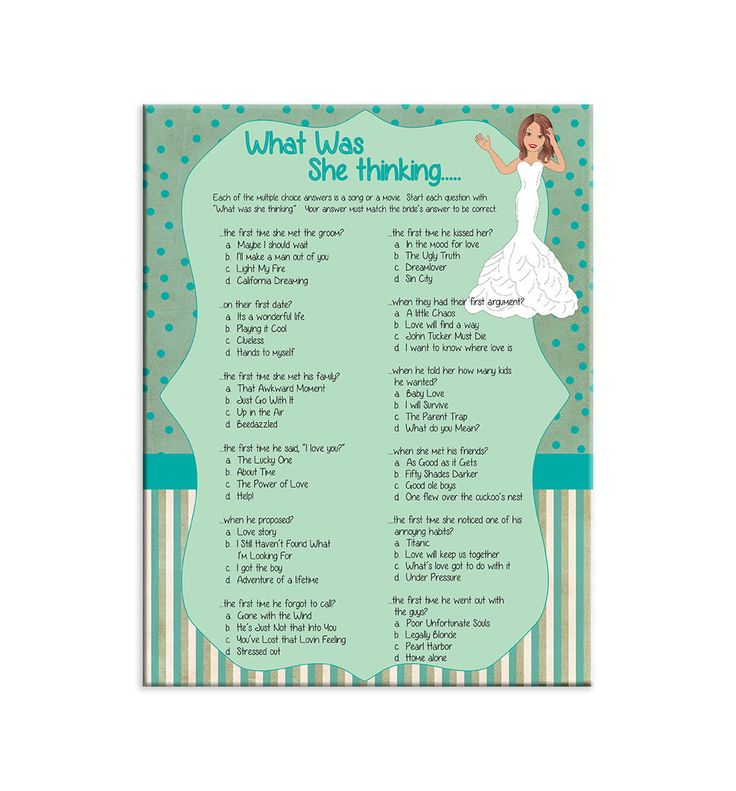What Was She Thinking Bridal Shower Game