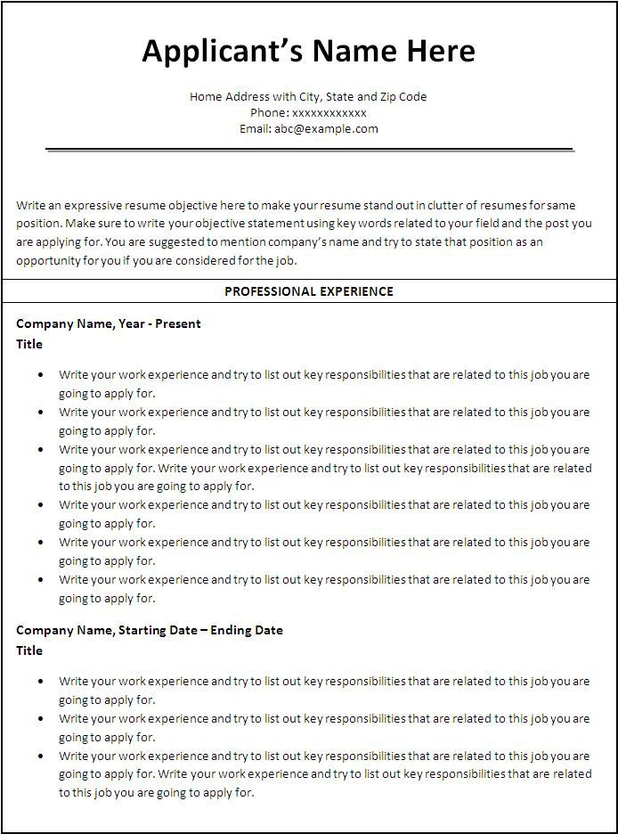 sample resume templates word document examples free template