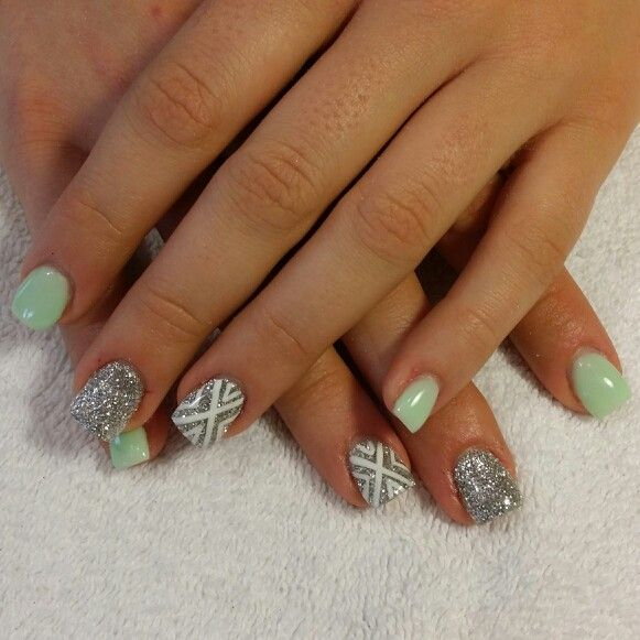 Mint gel nails silver glitter