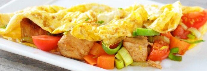 Slank recept: gevulde omelet met kip en groenten - 4Pure by Andrea4Pure by Andrea