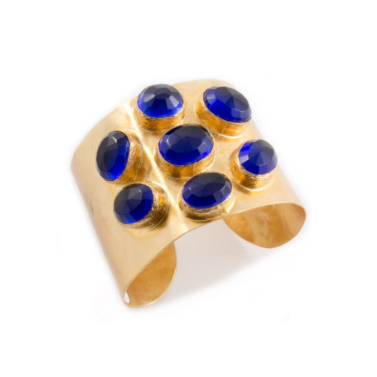 Large Cobalt Glass & Brass Cuff from Istanbul