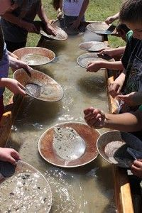 Gold panning is an essential western theme party activity.