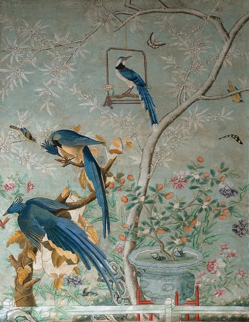 ~Chinese handpainted wallpaper featuring the Columbia Magpie, or Jay.  Taken directly from the drawing of these native North Carolina birds by Audubon.