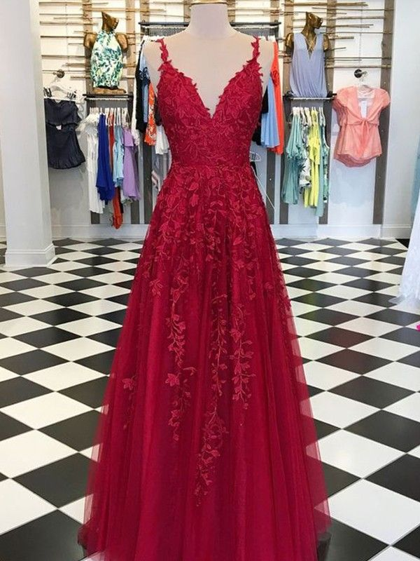 f88e3cde3af2 A-Line Sleeveless V-neck Floor-Length With Applique Tulle Dresses in ...