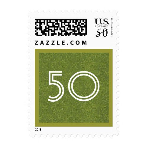 50th Fifty Birthday Party Striped Number V04 Postage
