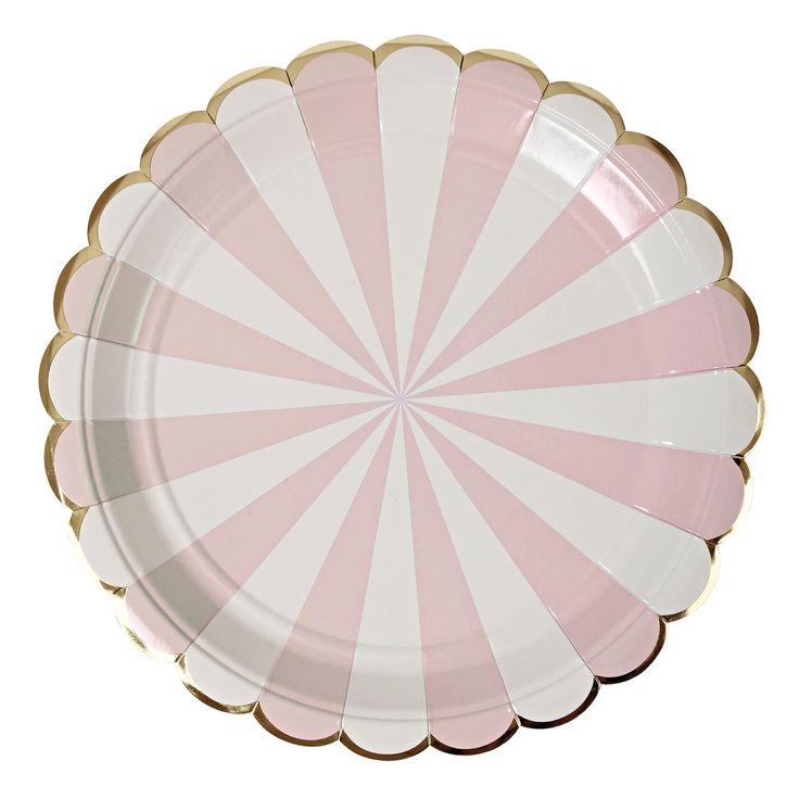 "Plates   Meri Meri   Toot Sweet   Pink & White Stripe Large Plates 9""   Paper Plates   Party Plates   Party Supplies   The Party Darling by ThePartyDarlingLLC on Etsy"