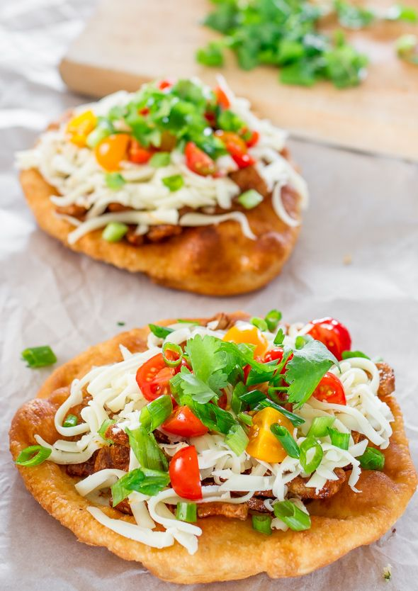 Steak Fry Bread Tacos...OMG!!!!!  Top with sour cream and salsa and you are in taco heaven!!!!