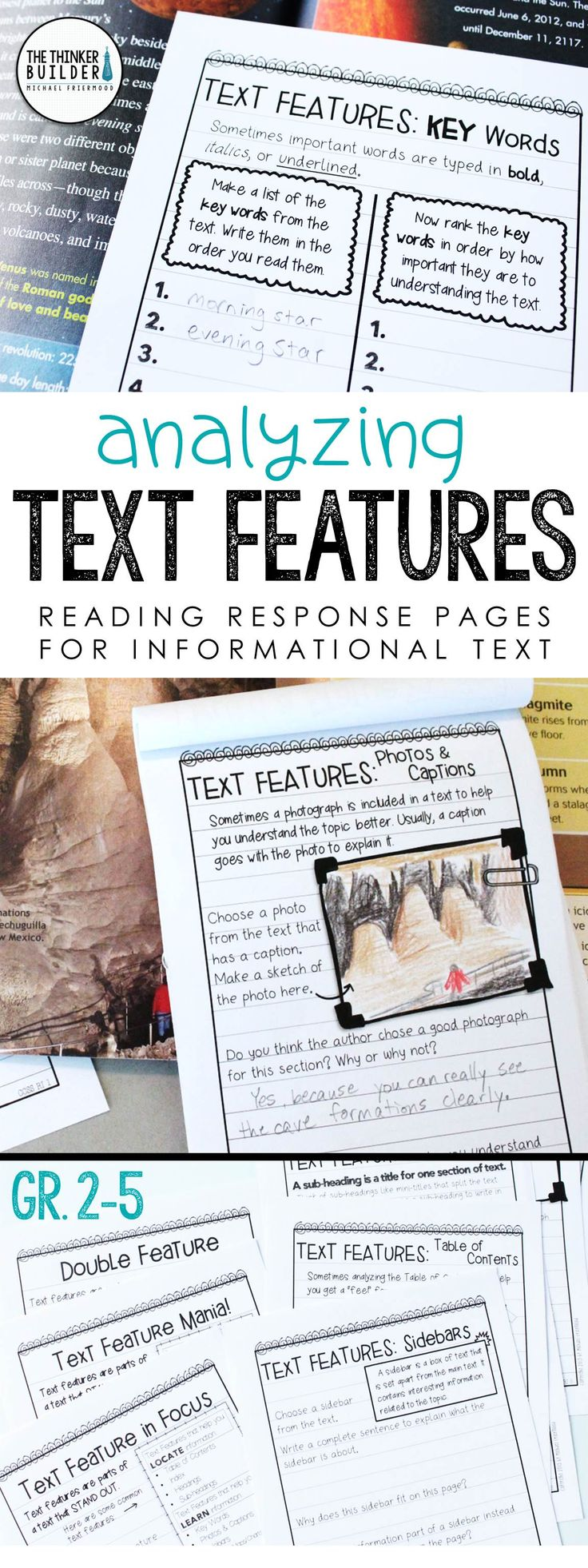 	Help students analyze text features within informational texts with these handy reading response pages, designed in an engaging notebook format. Differentiated at three levels. Also includes pages on text structures, locating important facts, summarizing & synthesizing, vocabulary, research, and more! (Gr 2-5) $