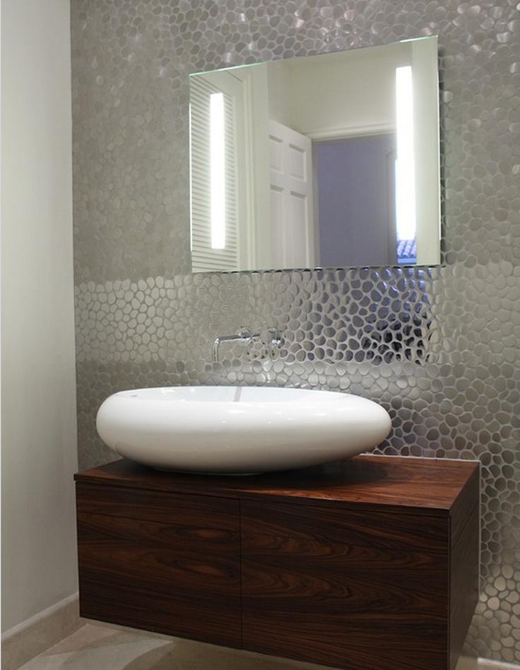funky wall covering guest bathroom biz ideas. Black Bedroom Furniture Sets. Home Design Ideas
