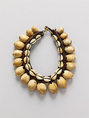 Indonesia ~ South Moluccas  | Man's ceremonial necklace from the Tanimbar Islands | Shell, cowry shells, plant fiber and metal | 19th century