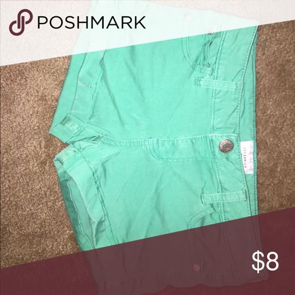 Mint green shorts Mint green Celebrity Pink shorts about 3 in short. Celebrity Pink Shorts Jean Shorts