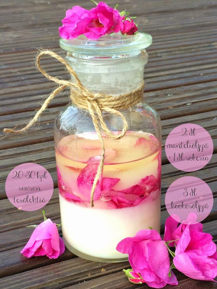 Ruusukuorinta vartalolle, tee-se-itse kosmetiikka, sokerikuorinta, diy cosmetics, rose