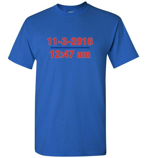 Cubs World Series Date and Time of Win T-Shirt