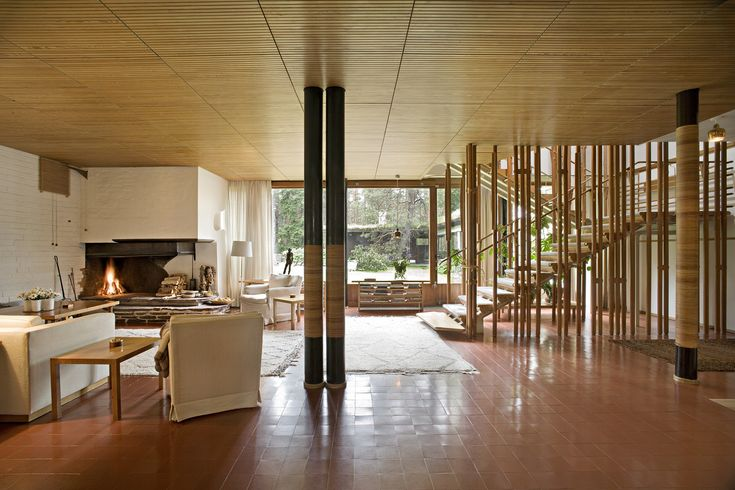 Villa Mairea's undivided, 820-foot-long living space was inspired by the traditional Finnish peasant house, with...