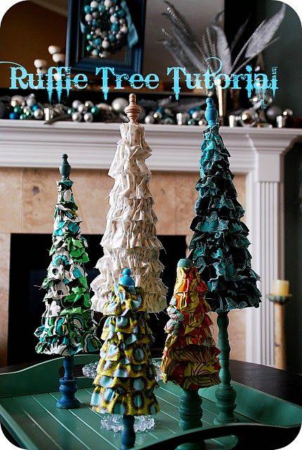ruffled trees: Idea, Christmas Crafts, Ruffles Trees, Trees Tutorials, Holidays, Christmas Decor, Christmas Trees, Christmas Projects, Diy Christmas
