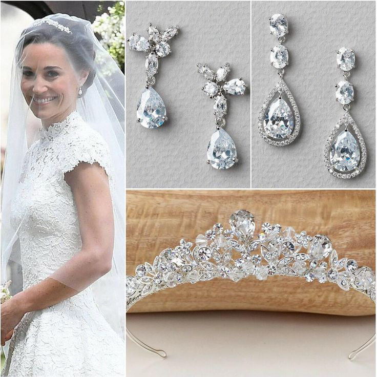 We're swooning over Pippa Middleton's elegant & classic bridal look! She added a touch of royal glitz with a handmade dainty tiara, paired with simple drop earrings. Love her look as much as we do? We have a few pieces that are very similar & just as beautiful! �� #bridal #wedding #hair #bridalhairstyle #bridallook #accessories #earrings #tiara #crown #royalwedding #celebritywedding #love #weddinginspiration #weddinginspo #usabride…