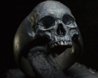 Skull Ring – Into The Fire Jewelry – Skull ring Mid size half jaw silver mens skull biker masonic handmade jewelry .925 etsy. #16 – Joyeria.