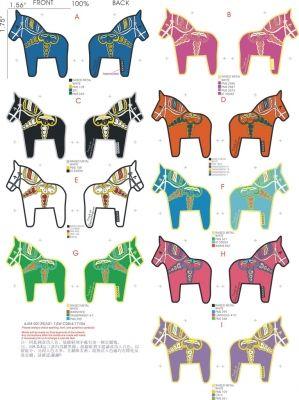 Many colored dala horses.  I think this could be printed.