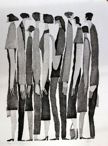 Aoki Tetsuo - Japanese artist and illustrator. Feel like there's a little bit of a Giacometti vibe about his work.