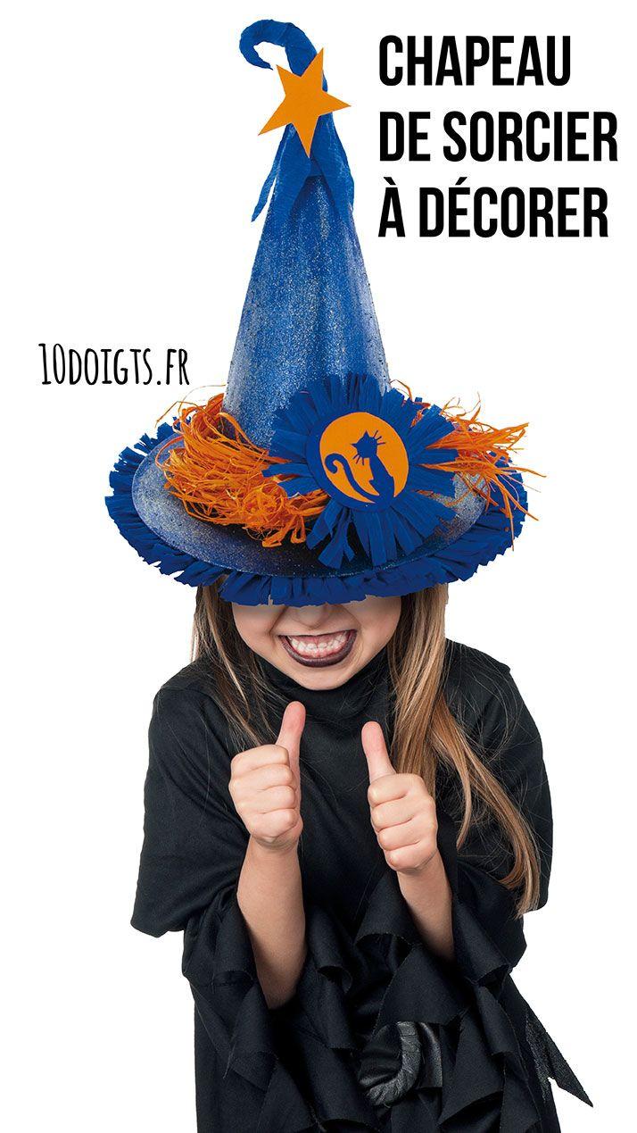 Chapeau de sorcière. Chapeau en carte blanche, pour devenir le plus terrible sorcier, la plus vilaine sorcière... ou la plus belle princesse ! Activité créative pour les enfants, idéale pour Halloween ou Carnaval ! #Halloween #carnaval #déguisement