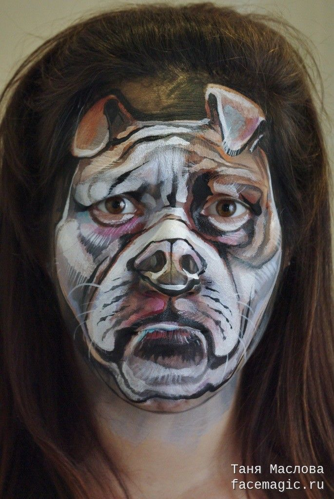 Bulldog. Face paint by Tanya Maslova.                                                                                                                                                                                 More