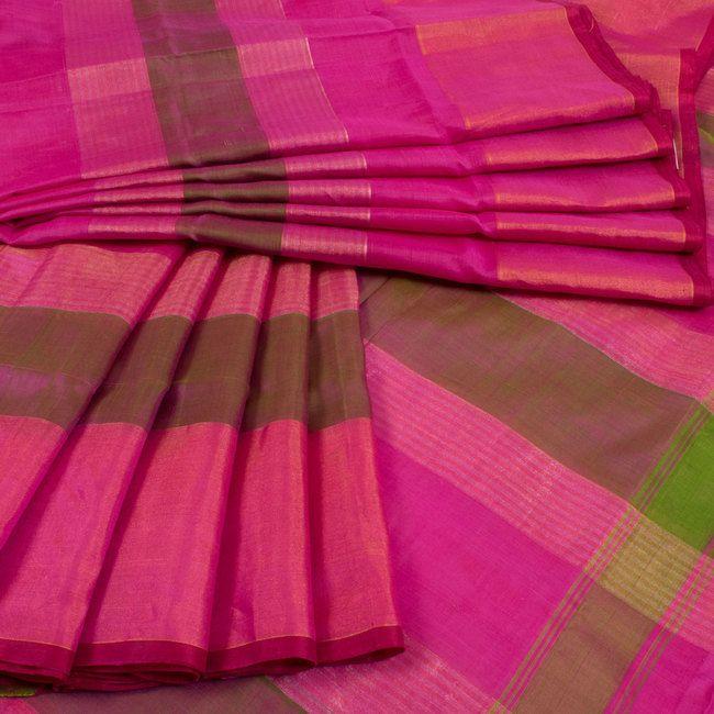 Handwoven Magenta Uppada Silk Saree With Zari Stripes 10014633 - AVISHYA.COM