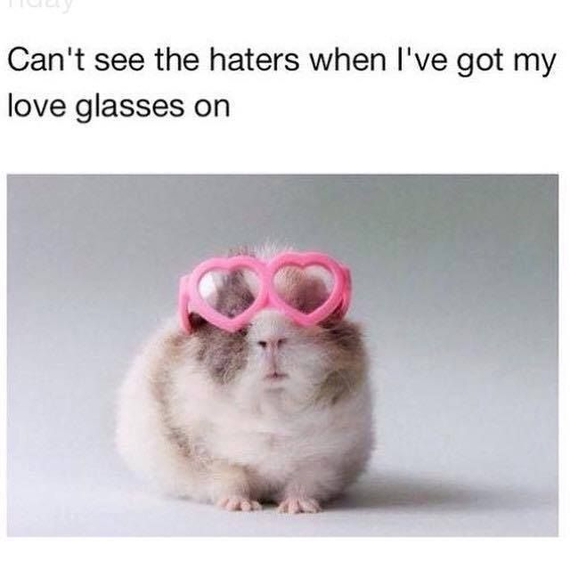 Can't see the haters when I've got my love glasses on.