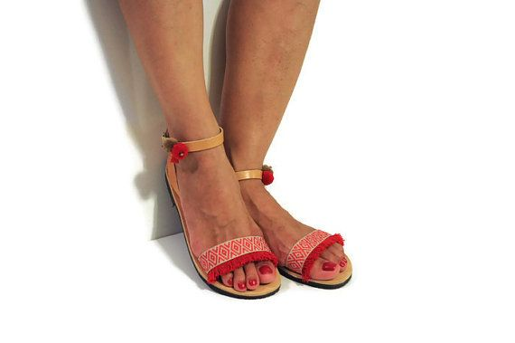 Greek sandals, Red Boho Sandals, Hippie Sandals, Fringe Sandals, Gypsy Sandals, Bohemian Sandals, Leather Sandals