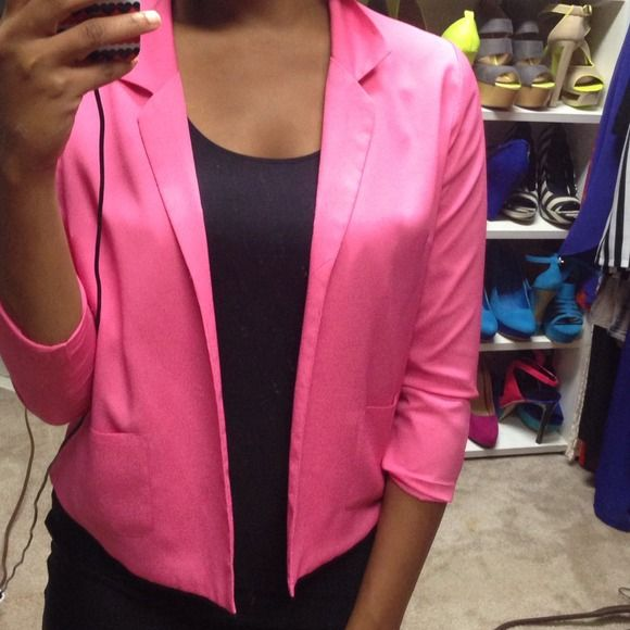 Brand New Hot Pink Blazer Never worn, tags missing though, very comfy, lightweight and pretty color, also has some stretch to it no name Jackets & Coats Blazers
