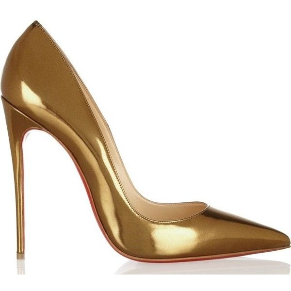Christian Louboutin So Kate Pump in Gold as seen on Rihanna ❤ liked on Polyvore