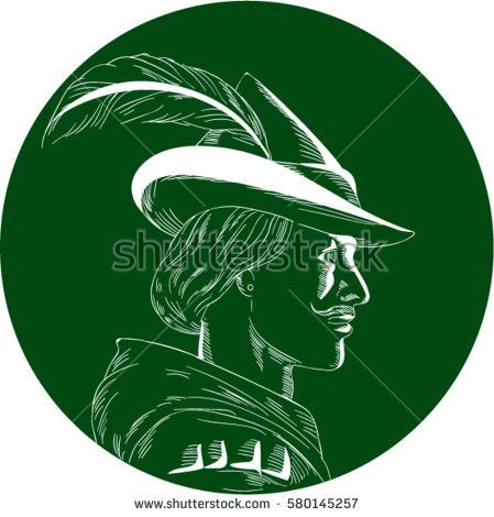 Illustration of a Robin Hood wearing medieval hat with a pointed brim and feather viewed from side set inside circle done in retro woodcut style.  #RobinHood #woodcut #illustration