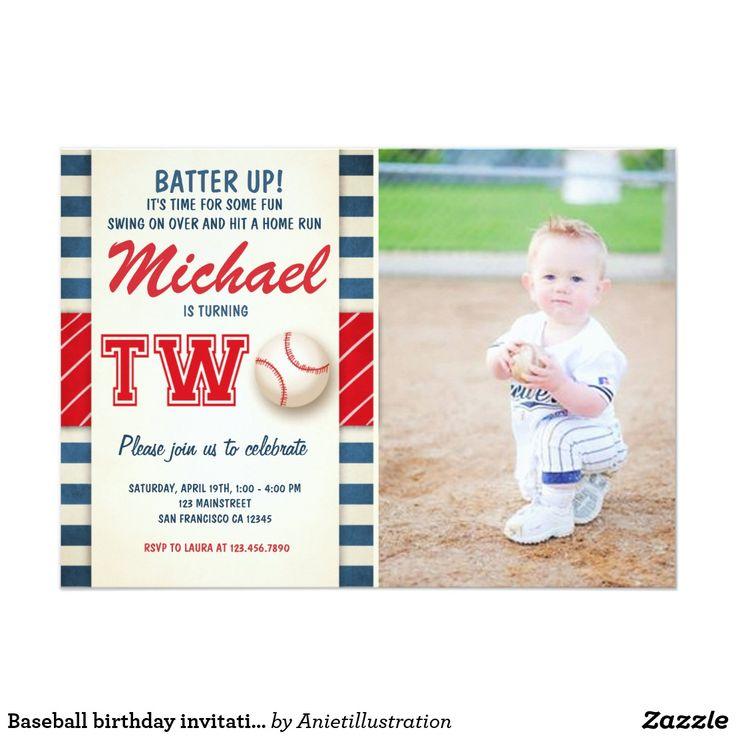 Baseball birthday invitation Two Boy Sports