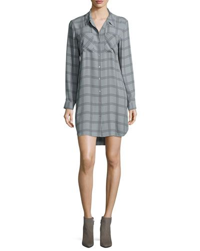 Eileen+Fisher+Long+Sleeve+Plaid+Silk+Shirtdress+|+Frock,+Dress+and+Clothing