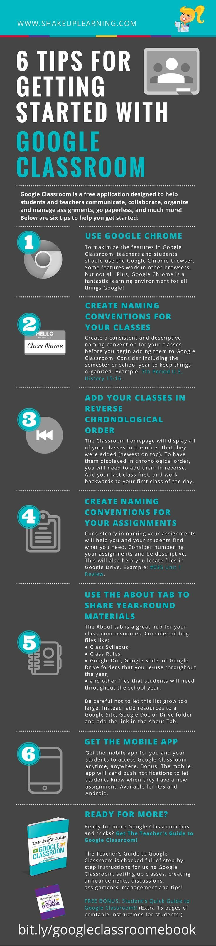 6 Tips for Getting Started with Google Classroom [infographic} - Ready to get started with Google Classroom? These six tips will set you up for success and help you avoid common missteps, save you time, and help you successfully implement Google Classroom!