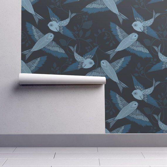 Birds Wallpaper Blue Birds By Ceciliamok Blue Birds Black Etsy Bird Wallpaper Peel And Stick Wallpaper Self Adhesive Wallpaper