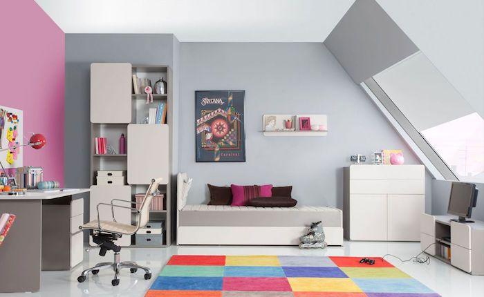 Coole Möbel Ideen Graues Kinderzimmer Design Rosa Wand Bunter