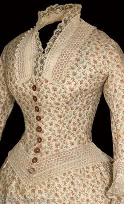 1880's day dress, bodice detail