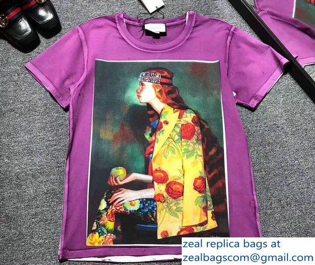 1f0460b8d92 Gucci Ignasi Monreal Digital Painting Print T-shirt 492347 Purple  2018 2803115398