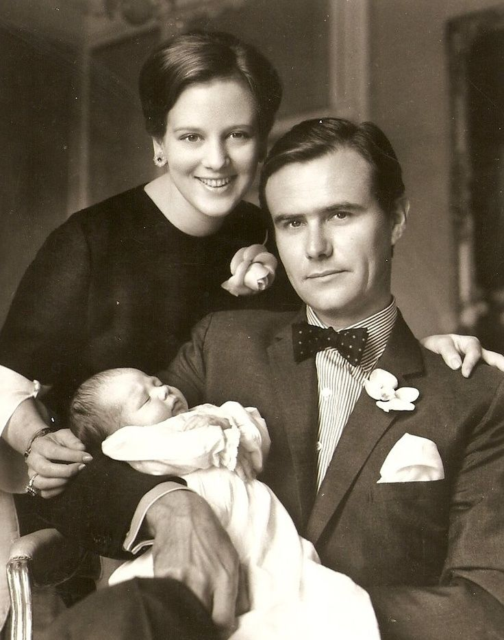 Queen Margrethe, prince Henrik and their first born, Crown prince Frederik.