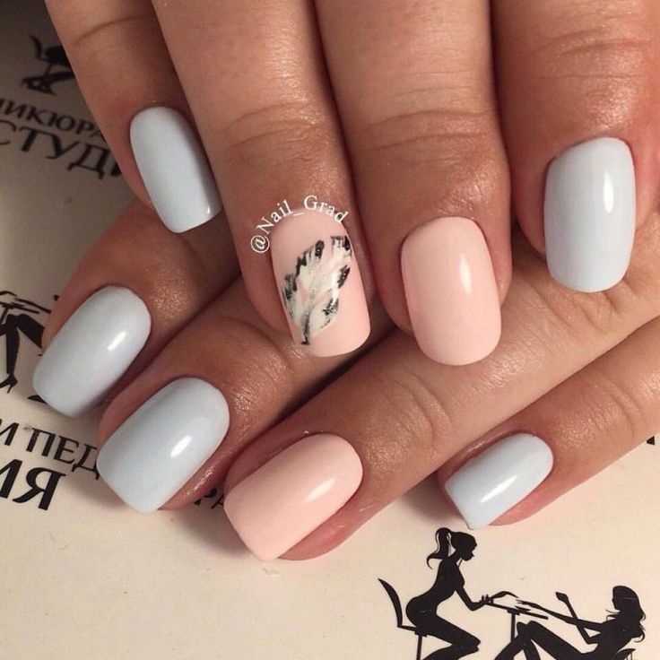 Beautiful nails 2017, Drawings on nails, Festive nails, Gentle nails 2017, Light blue nails, Nails ideas 2017, Nails with stickers, Painted nail designs