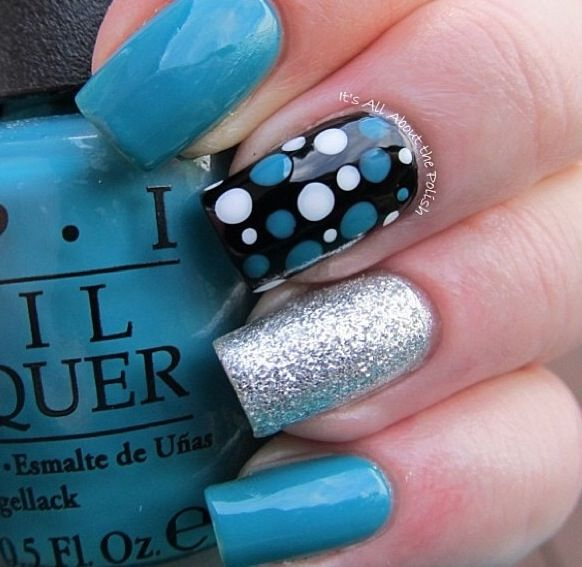 61 best nail designs images on pinterest nail designs tammy blue silver black nail design combo sciox Image collections
