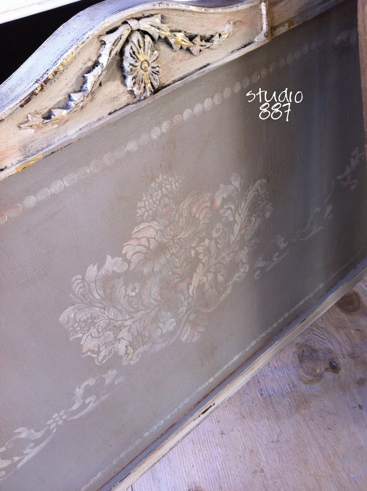 ...a stenciled headboard http://bloggingfromstudio887.com/news/