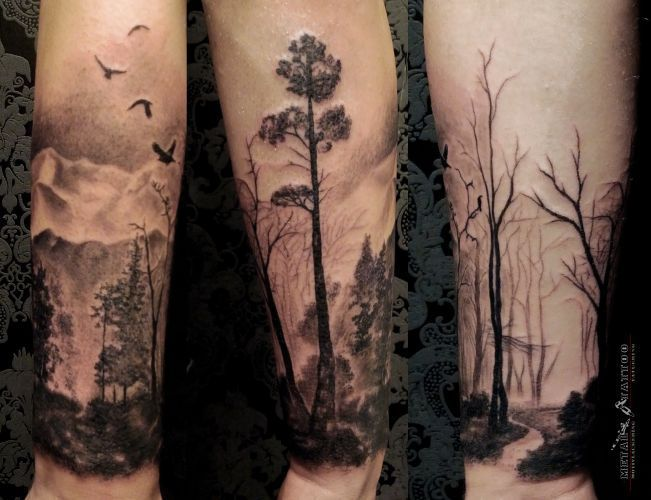 Owl in the Forest Tattoo - http://giantfreakintattoo.com/owl-in-the-forest-tattoo/