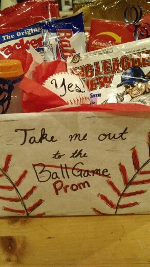 Take me to Prom! Baseball promposal. Peanuts, cracker jacks, gum, sunflower seeds, gatorade, baseball