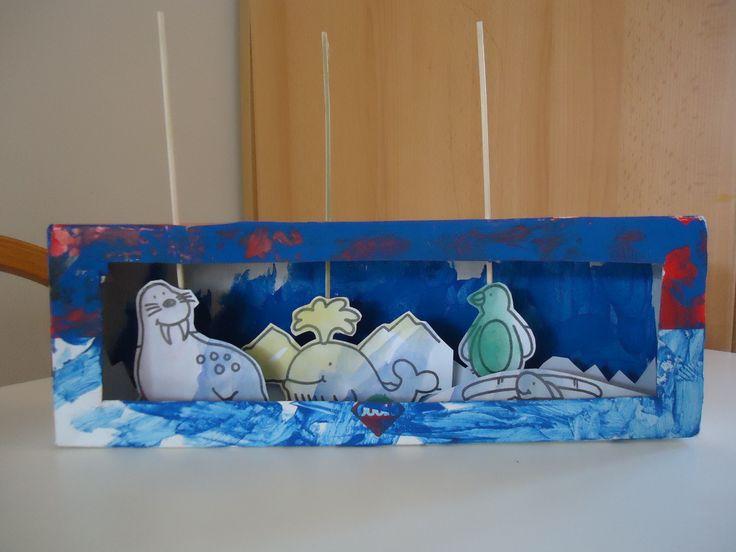 """Kijkdoos met dieren die kunnen bewegen. Soepstengel doos laten verven en er een """"raam"""" uit snijden. Kleine kleurplaat met dieren laten kleuren/verven en daarna uitknippen. Een satéprikker per dier door de bovenkant van de doos prikken en hieraan het dier bevestigen met plakband. De kijkdoos verder versieren. In dit geval ijsschotsen van wit stevig papier gemaakt en in de doos geplakt."""
