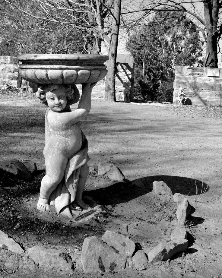 Cherubic birdbath at The Little Church, Van Reenen's Pass by Rosemary Hall #Black&White