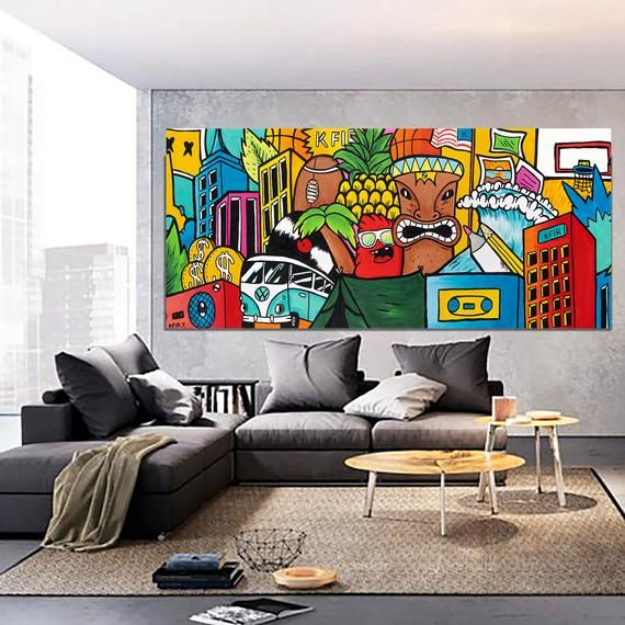Graffiti Style Colorful Painting Living Room Wall Decor Etsy Horizontal Wall Art Graffiti Wall Art Extra Large Wall Art
